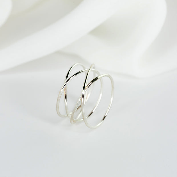 Woven + Double Band Ring Set - Sterling Silver