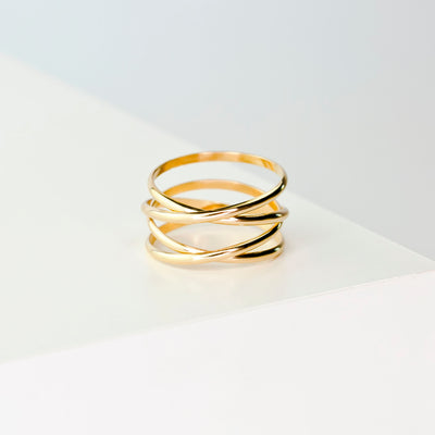 Woven Thick Band Ring - 14K Gold Fill