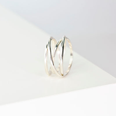 Woven Thick Band Ring - Sterling Silver