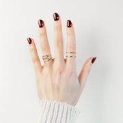 Woven + Double Band Ring Set - 14K Gold Fill