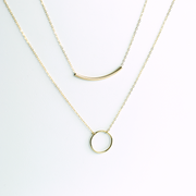 Crescent + Arc Necklace Layering Set - 14K Gold Fill