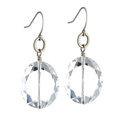 Caviar Drop Clear Chunky Stone Earring - White Background