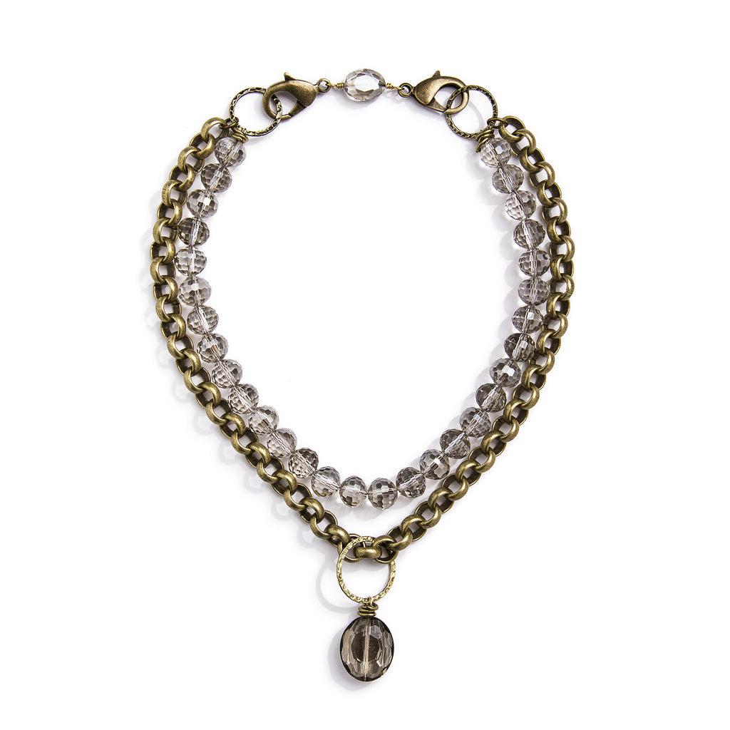 Lyra Convertible Necklace - Brass