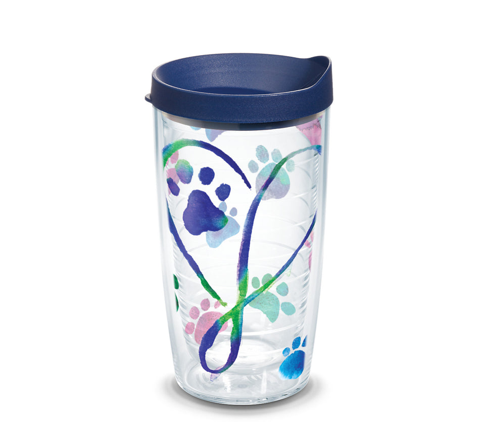 Dog Paws Script Heart 16 oz. Tumbler with navy lid