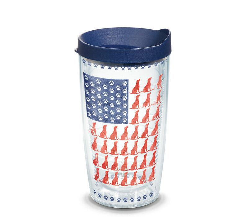 Dog Flag 16 oz. Coffee Mug with navy lid