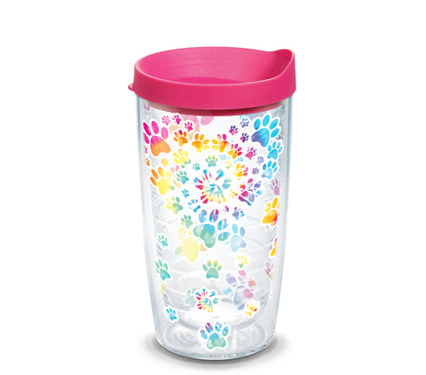 Tie Dye Paw Heart 16 oz. Tumbler with fuchsia lid