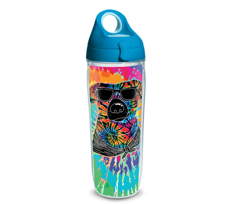 Tie Dye Dog with Sunglasses 16 oz. Tumbler with turquoise lid