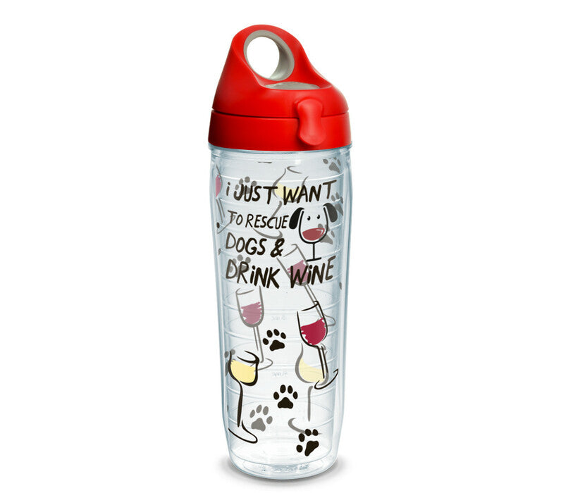 I Just Want to Rescue Dogs & Drink Wine - 16 oz. Tumbler with red lid