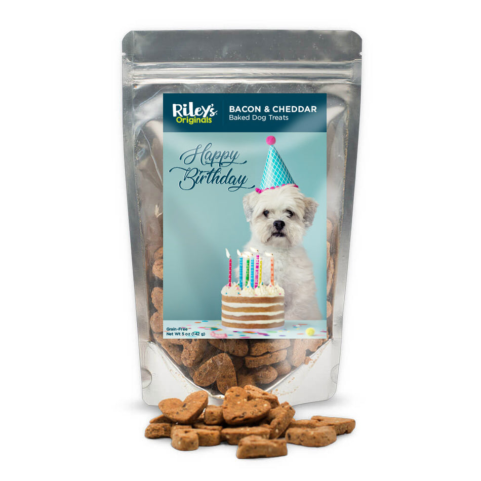 "Riley's Originals ""Birthday"" Grain-Free Baked Bacon & Cheddar Dog Treats 5oz"