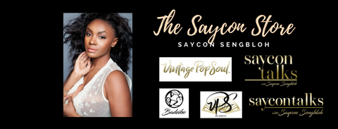 Saycon in white lace vest and logos for saycon brands badeibo, saycontalks & Vintagpe pop soul