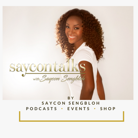 Saycon with curly brown hair and SayconTalks logo and store descriptions shop podcast music glam and more