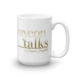 photo of White glossy mug with golden letters SayconTalks with Saycon Sengbloh