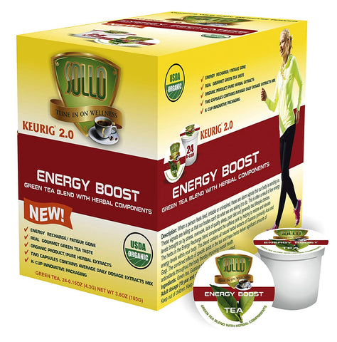Energy Boost Organic Green Tea Pods For Keurig, 24 Count