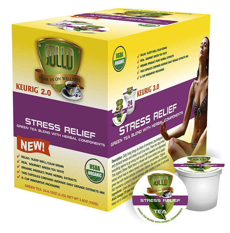 Sollo Stress Relief  Organic Green Tea For Keurig, 24 count