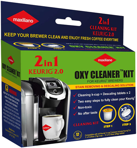 Maxiliano Oxy Cleaner Kit 2 in 1 Professional Descaling For All K-Cup Keurig 2.0 Brewers