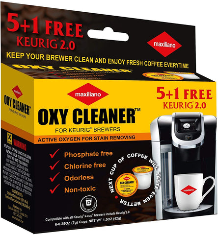 Maxiliano Cleaning Pods Compatible with K-Cup 2.0 Keurig, 6 Pods