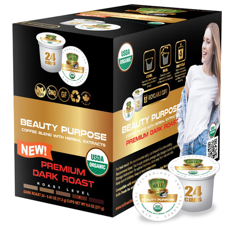 Sollo Dark Roast Beauty Purpose Infused Coffee Pods For Keurig, 24 Count