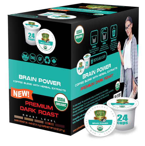 Sollo Dark Roast Brain Power Infused Coffee Pods For Keurig, 24 Count