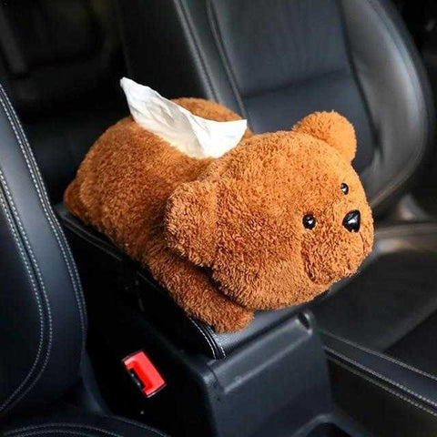 Image of Plush Car Armrest Tissue Box