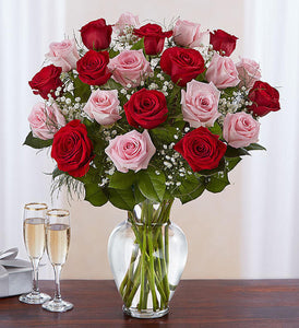 Two Dozen Red and Pink Roses Mix