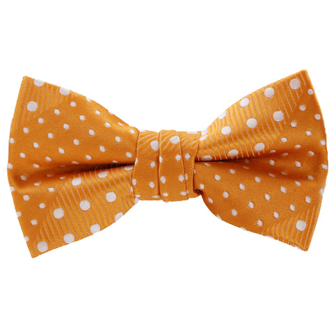 Crush - Orange Kids Pre-Tied Bowtie with Dotted Stripe<b></b>