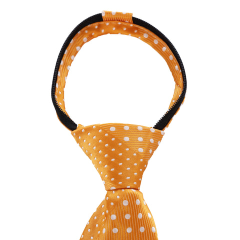Crush - Orange Long Zipper Tie with Dotted Stripe