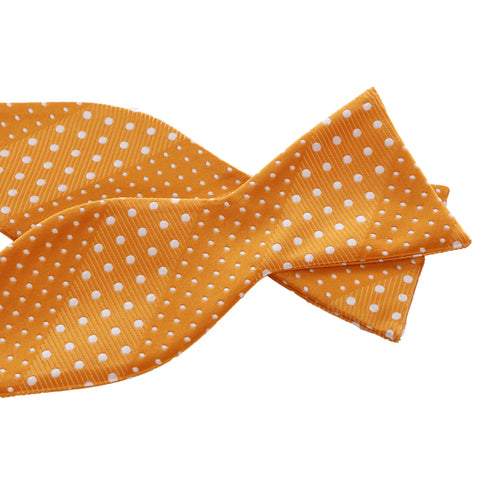 Crush - Orange Self-Tie Bow tie with Dotted Stripe
