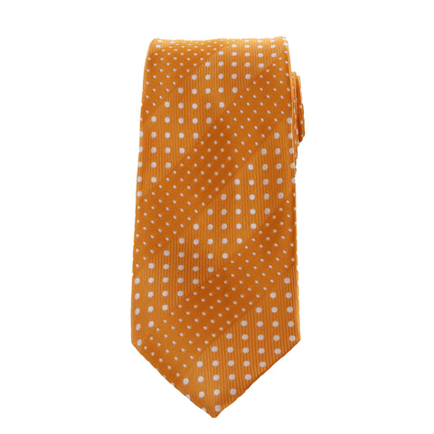 Crush - Orange Long Necktie With Dotted Stripes