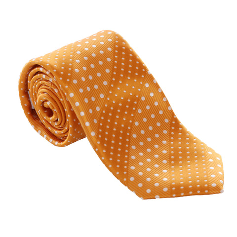 Crush - Orange Necktie With Dotted Stripes