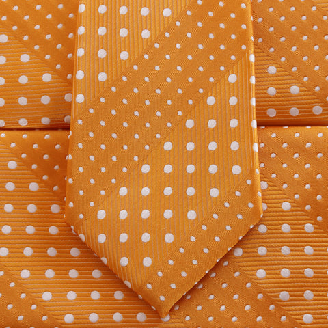 Crush - Orange Children's Necktie with Dotted Stripe