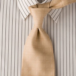 Chandelier - Tan Necktie with Square Texture