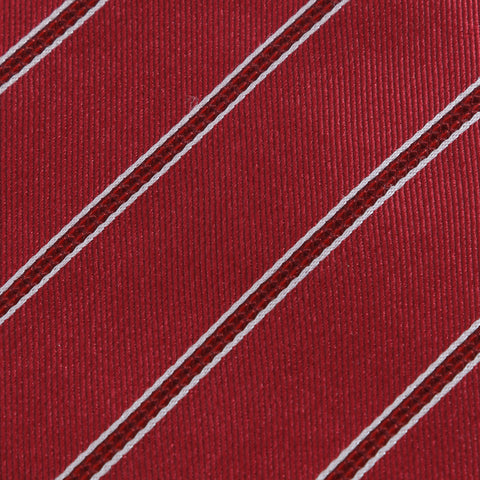 Power Play - Long Red Necktie with Red and White Stripes