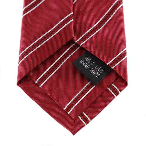 Power Play - Long Red Zipper Tie with Red and White Stripes
