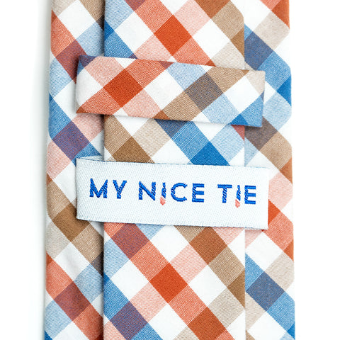 Picnic - Orange, Blue, Brown, White Gingham Necktie