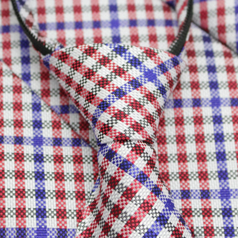 Patriot - Red, White, and Blue Gingham Patterned Zipper Tie