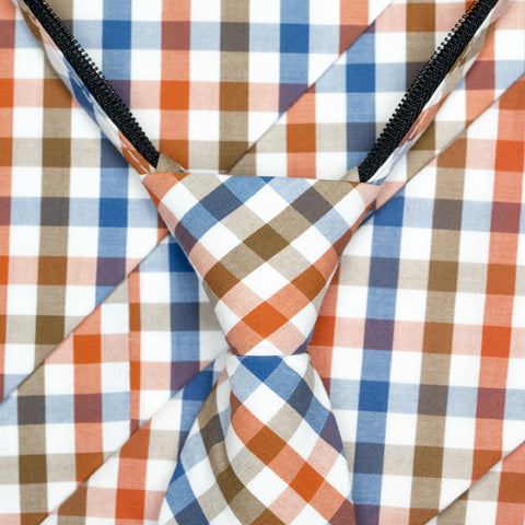 Picnic - Orange, Blue, Brown, White Gingham Long Zipper Tie