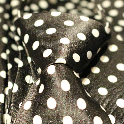 Black Dotted Kids Zipper Tie with Large White Dots