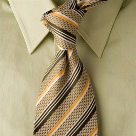Meadow Gold - Tan Necktie with Brown and Yellow Stripes