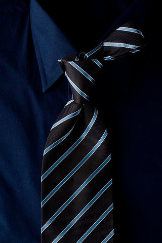 Ocean Slice - Dark Blue Necktie with Light Blue Stripes
