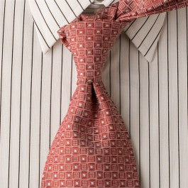 Red Matrix - Red Necktie with Square Pattern