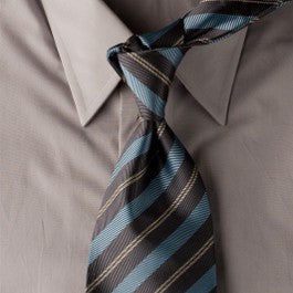 Baby Blue Banister - Grey Striped Necktie w/ Blue and Silver Stripes