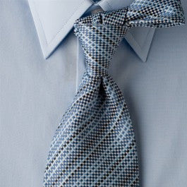 Blue Harmony - Blue Striped Necktie with Geometric Design