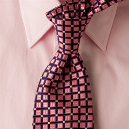 Borderline Metro - Pink and Purple Necktie with Square Pattern