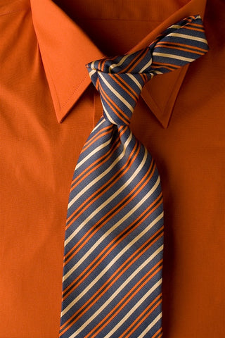 Summer Eve - Blue Striped Necktie with Orange and Tan Stripes