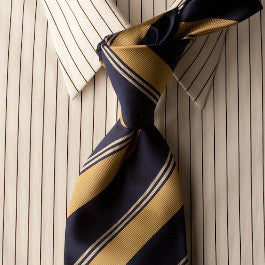 Blue Cougars - Dark Blue Striped Necktie with Gold Stripes