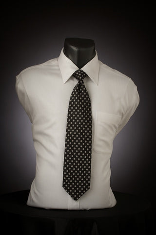 Silver Dot - Black Necktie with Silver Dots