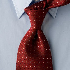 Red Diplomat - Red Necktie with Black, Blue, and Tan Dots