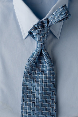 Blue Water - Blue Necktie with Square Design