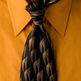 Black Trek - Black Necktie with Triangle Design