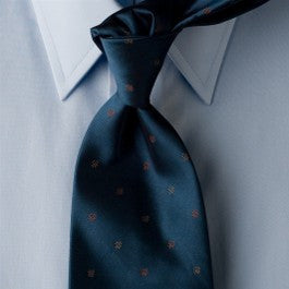 Blue Steele - Shinny Blue Necktie with Red Dots